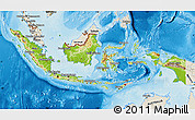 Physical Map of Indonesia, shaded relief outside