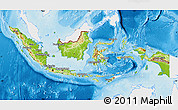 Physical Map of Indonesia, single color outside