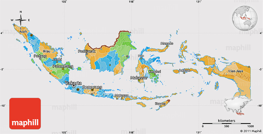Political Map of Indonesia cropped outside