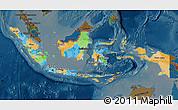 Political Map of Indonesia, darken