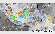 Political Map of Indonesia, desaturated