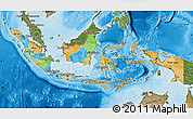 Political Map of Indonesia, satellite outside, bathymetry sea