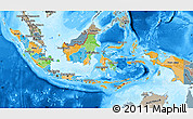 Political Map of Indonesia, semi-desaturated, land only