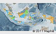 Political Map of Indonesia, semi-desaturated