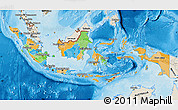 Political Map of Indonesia, shaded relief outside, bathymetry sea