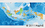 Political Map of Indonesia, single color outside