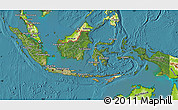 Satellite Map of Indonesia, physical outside, satellite sea