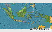 Satellite Map of Indonesia, political shades outside, satellite sea