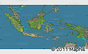 Satellite Map of Indonesia, semi-desaturated, land only