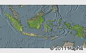 Satellite Map of Indonesia, semi-desaturated