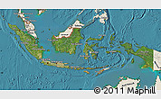 Satellite Map of Indonesia, shaded relief outside, satellite sea