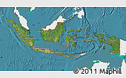 Satellite Map of Indonesia, single color outside