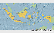 Savanna Style Map of Indonesia, single color outside