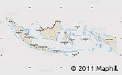 Shaded Relief Map of Indonesia, cropped outside
