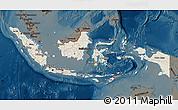 Shaded Relief Map of Indonesia, darken