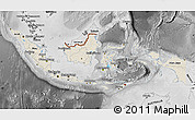 Shaded Relief Map of Indonesia, desaturated