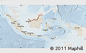 Shaded Relief Map of Indonesia, lighten