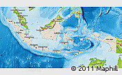 Shaded Relief Map of Indonesia, physical outside