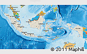 Shaded Relief Map of Indonesia, political outside, shaded relief sea