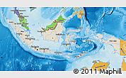 Shaded Relief Map of Indonesia, political shades outside, shaded relief sea