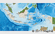 Shaded Relief Map of Indonesia, satellite outside, shaded relief sea