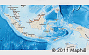 Shaded Relief Map of Indonesia, semi-desaturated, land only