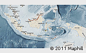 Shaded Relief Map of Indonesia, semi-desaturated