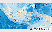 Shaded Relief Map of Indonesia, single color outside