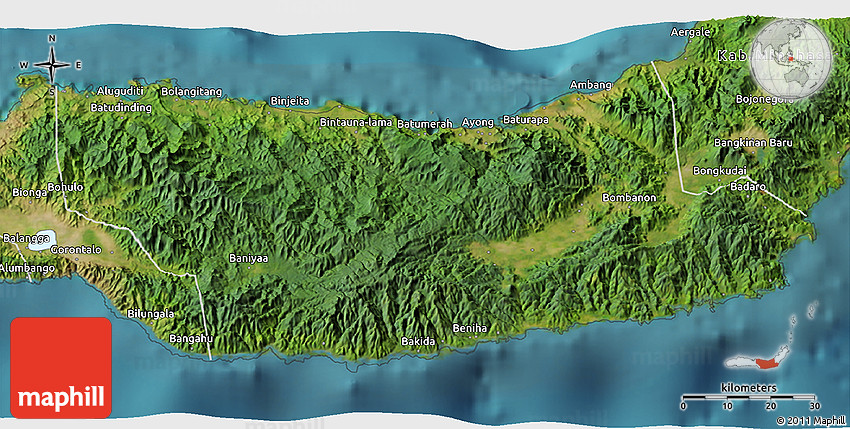 Satellite 3d Map Of Kab Bolaang Mongondow
