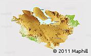 Physical 3D Map of Kab. Tapanuli Utara, cropped outside