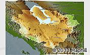 Physical 3D Map of Kab. Tapanuli Utara, darken