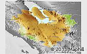 Physical 3D Map of Kab. Tapanuli Utara, desaturated