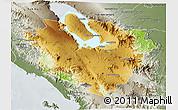 Physical 3D Map of Kab. Tapanuli Utara, semi-desaturated