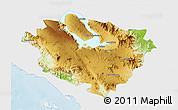 Physical 3D Map of Kab. Tapanuli Utara, single color outside