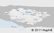 Gray Panoramic Map of Kab. Tapanuli Utara, single color outside