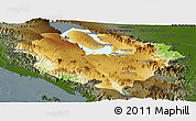 Physical Panoramic Map of Kab. Tapanuli Utara, darken