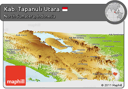 Physical Panoramic Map of Kab. Tapanuli Utara