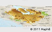 Physical Panoramic Map of Kab. Tapanuli Utara, shaded relief outside