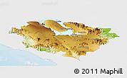 Physical Panoramic Map of Kab. Tapanuli Utara, single color outside
