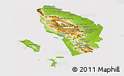 Physical Panoramic Map of North Sumatera, cropped outside