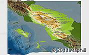 Physical Panoramic Map of North Sumatera, darken