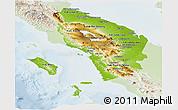 Physical Panoramic Map of North Sumatera, lighten