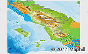 Physical Panoramic Map of North Sumatera, political outside