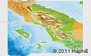 Physical Panoramic Map of North Sumatera, political shades outside