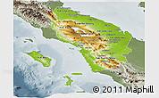 Physical Panoramic Map of North Sumatera, semi-desaturated