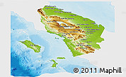 Physical Panoramic Map of North Sumatera, single color outside