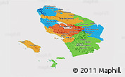 Political Panoramic Map of North Sumatera, cropped outside