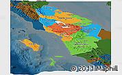 Political Panoramic Map of North Sumatera, darken
