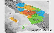 Political Panoramic Map of North Sumatera, desaturated