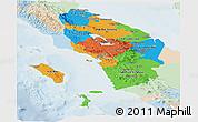 Political Panoramic Map of North Sumatera, lighten